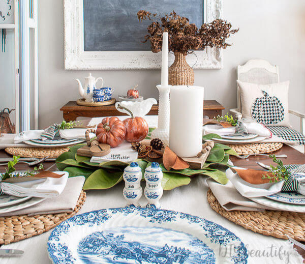 dining room table decorated for fall