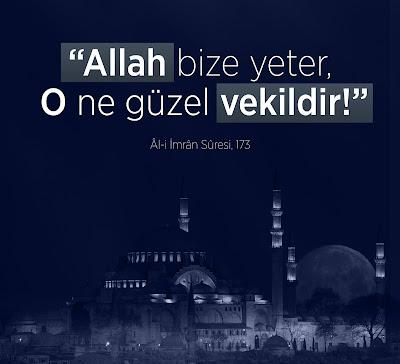 """""""Allah bize yeter, O ne güzel vekildir!"""" (Âl-i İmrân Sûresi - 173), günün ayeti, ayet, Kur'an-ı Kerim, Ali İmran Suresi, cami, gece, gökyüzü"""