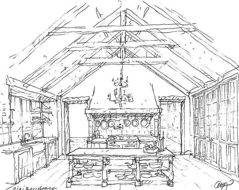 Architectural sketch of Patina Farm kitchen - found on Hello Lovely Studio