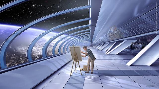 un dibujante desde los pasillos de asgardia viendo a través del cristal