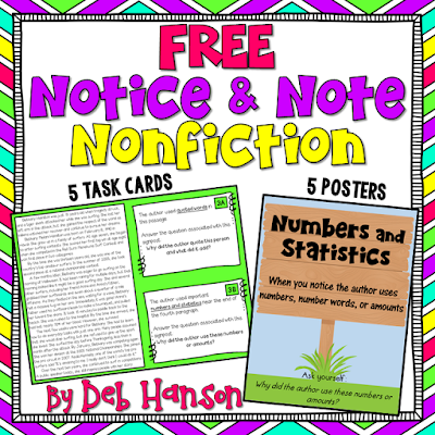 FREE Notice and Note Nonfiction Posters and Task Cards! These FREE resources and passages are designed to supplement the strategies outlined in the book Reading Nonfiction: Notice and Note by Beers and Probst.