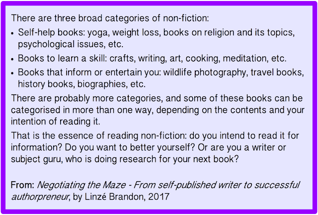 quoted text, Negotiating the Maze, author Linzé Brandon, non-fiction, writer's life