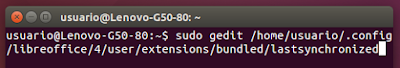 sudo gedit /home/usuario/.config/libreoffice/4/user/extensions/bundled/lastsynchronized