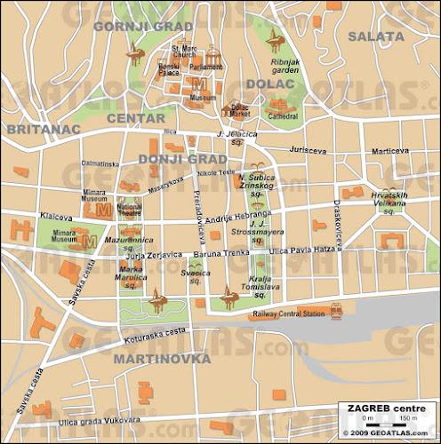 Zagreb center map