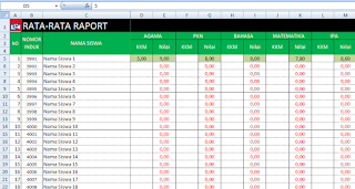 tabel rata-rata raport aplikasi excel skhu