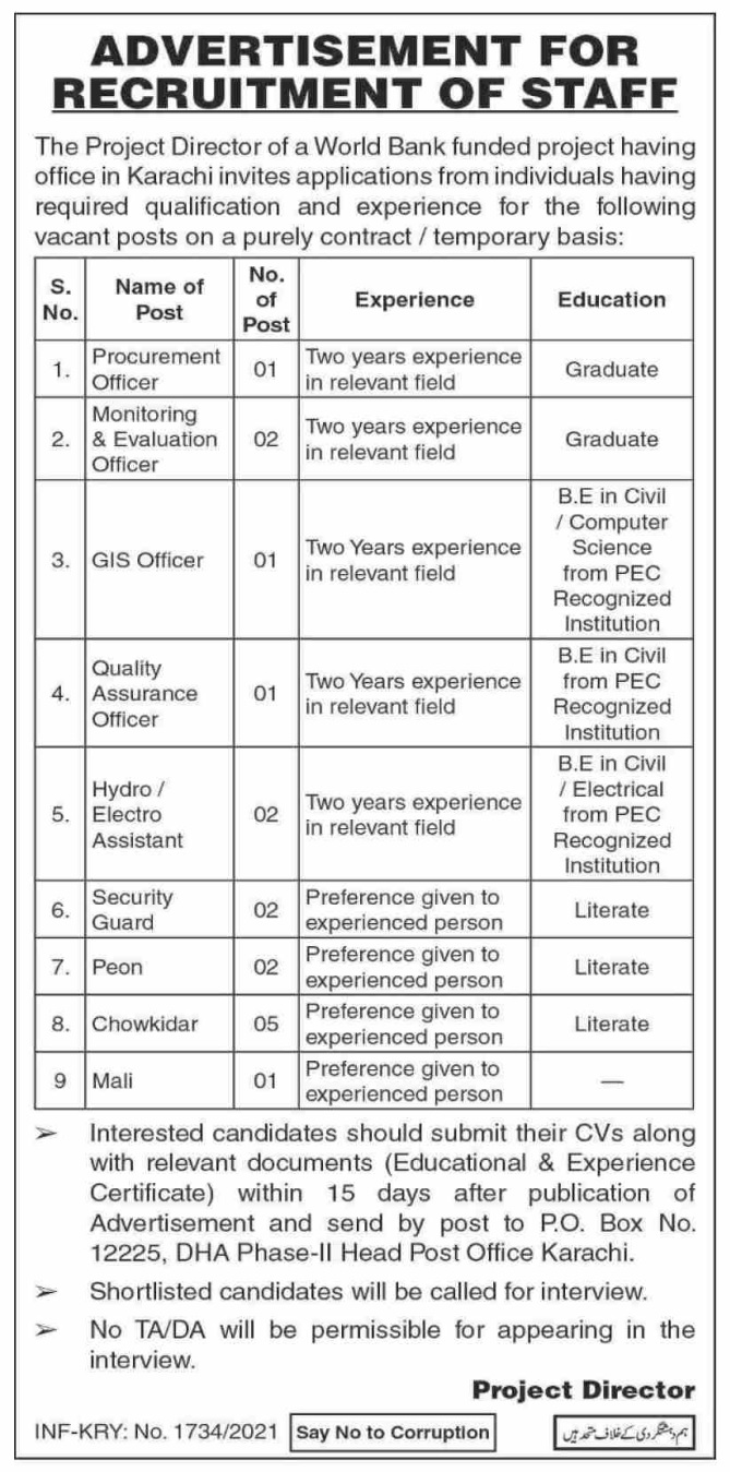 Project Director of a World Bank Karachi Jobs 2021 Procurement Officer, Monitoring & Evaluation Officer, GIS Officer, Quality Assurance Officer and more