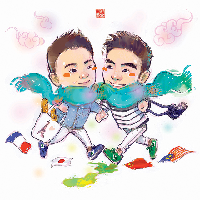 custom portrait of gay couple, gay couple travel goal, France, Japan, Australia, Malaysia, China, Married homosexual couple holding hands, fashion illustration, New balance sneakers