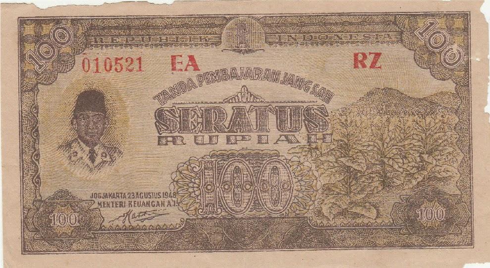 100 Rupiah Tahun 1948 - Depan