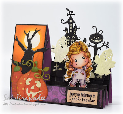 Magnolia Hear No Evil Tilda Glow in the Dark Halloween Step Card