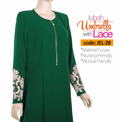 Jubah Umbrella Lace JEL-28 Green Depan 7