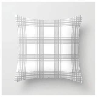 Farmhouse Plaid in Gray and White Throw Pillow by Mel Fischer