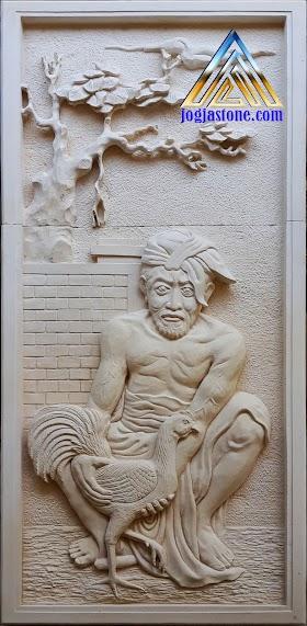 Relief tempel dinding lukisan adu ayam jago