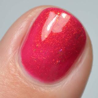 beet red nail polish macro