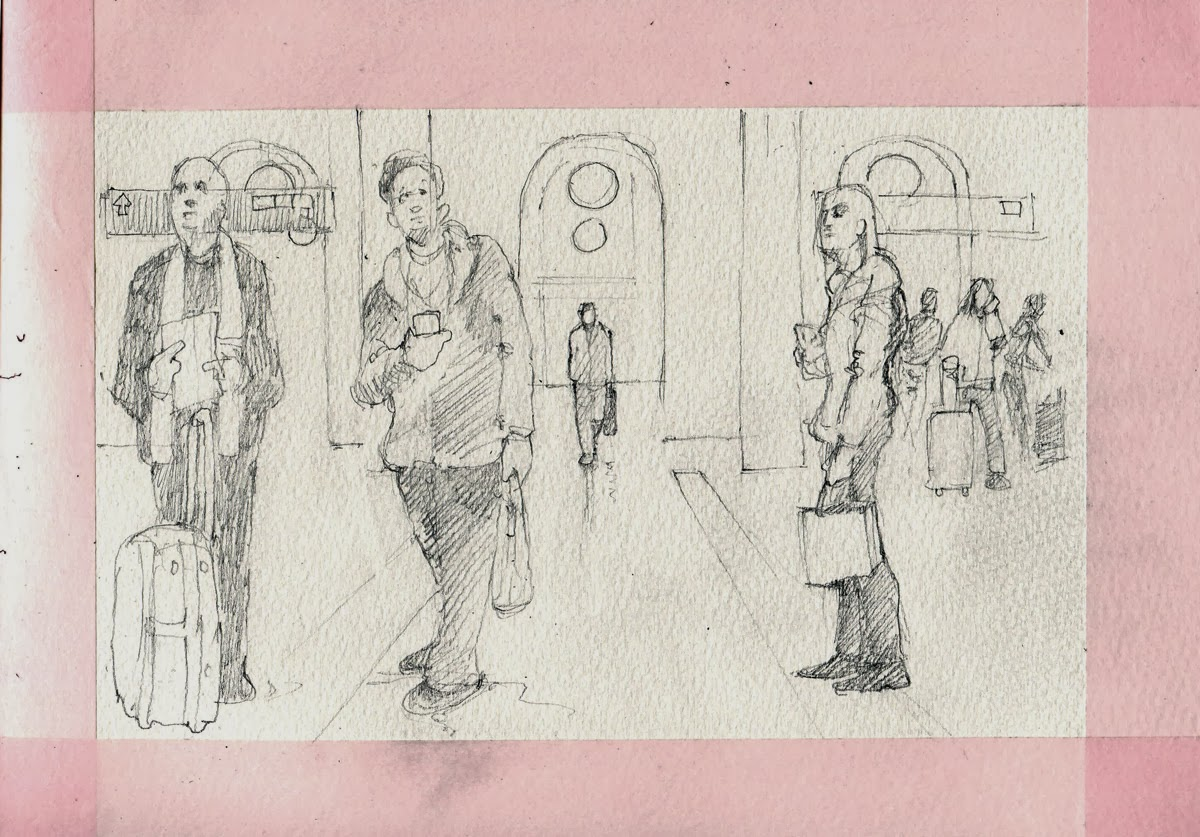 Sketch at Central Station, Stockholm by David Meldrum