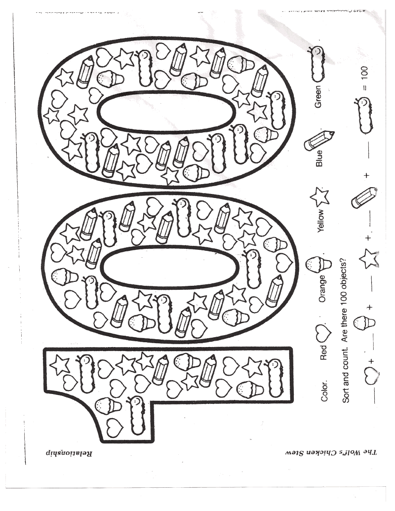 Leading them to the rock 100 day pizza party for 100 days of school coloring page