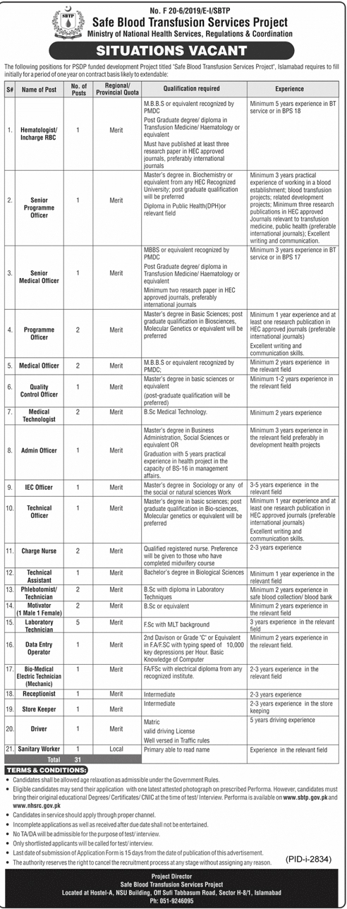 Ministry of National Health Services Regulations & Coordination Jobs