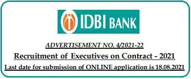 IDBI Executives Vacancy Recruitment 2021