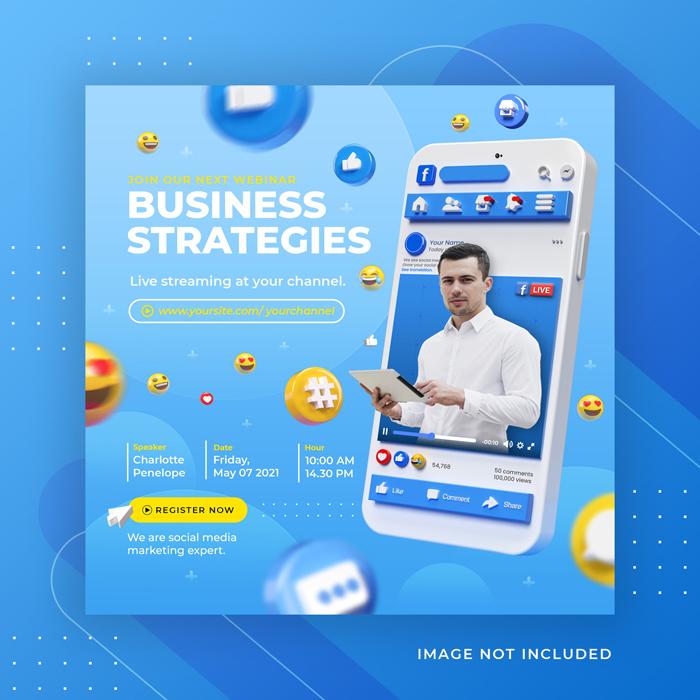 Facebook Live Streaming Business Workshop Social Media Post Instagram Template