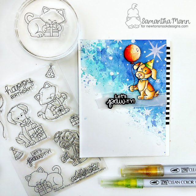 Let's Paw-ty Card by Samantha Mann for Newton's Nook Designs and Simon Says Stamptember 2019, cards, birthday, puppy, stencil, distress inks, watercolor #stamptember #newtonsnook #birthday #birthdaycard