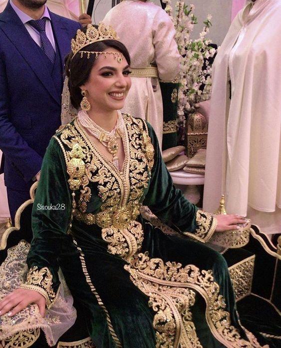 caftan mariage velour mobra vert 2021