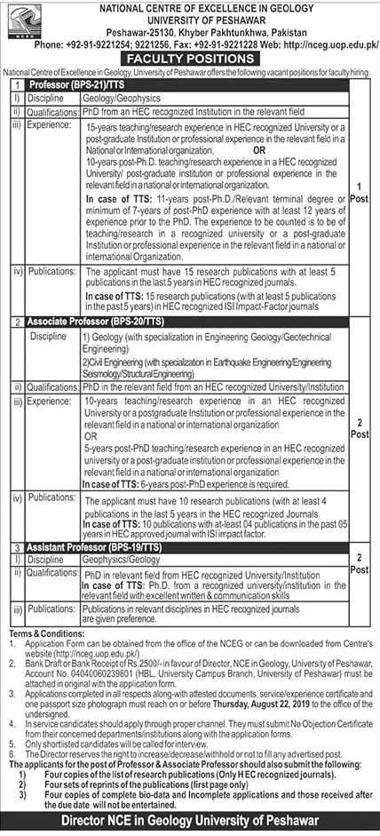 Advertisement for University of Peshawar Jobs