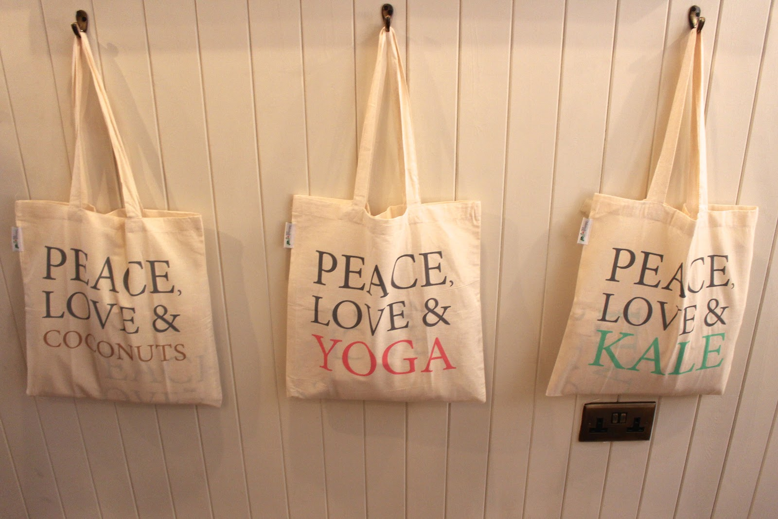 The Mae Deli by Deliciously Ella Peace & Love totes