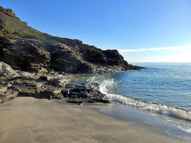 Sea and cliffs at Carlyon Bay, Cornwall