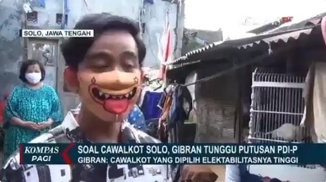 """Pakai Masker Karakter Sosok """" Wajah Jilat Berlendir"""" Gibran Jadi Sorotan"""