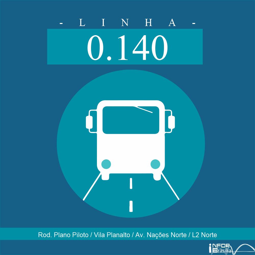 Horário e Itinerário 0.140 - Rodoviária do Plano Piloto/Avenida das Nações Norte