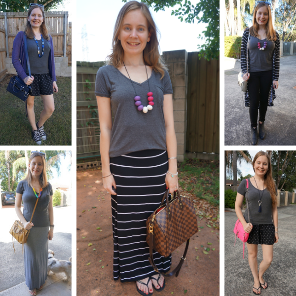 5 monochrome outfit ideas with a dark grey tee | away from the blue blog
