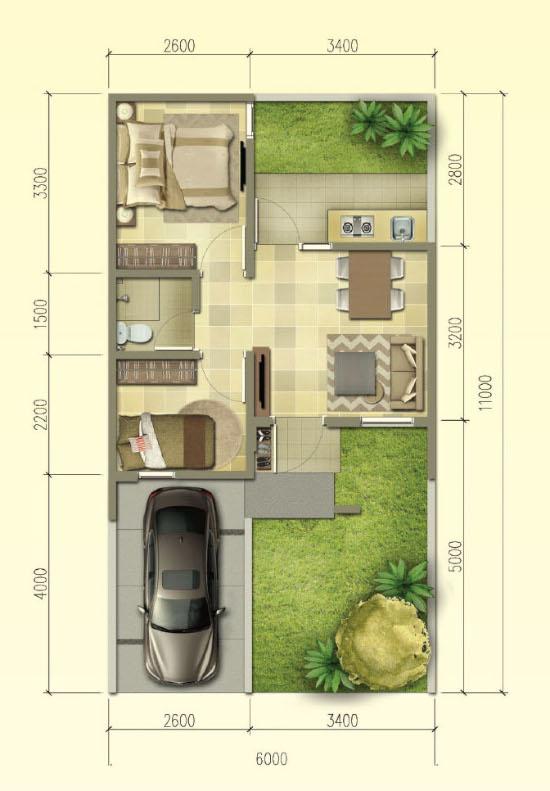 Denah rumah minimalis ukuran 6x11 meter 2 kamar tidur 1 lantai