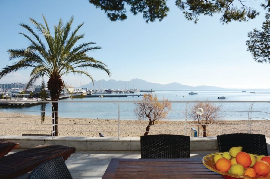table situated overlooking the beach, Majorca