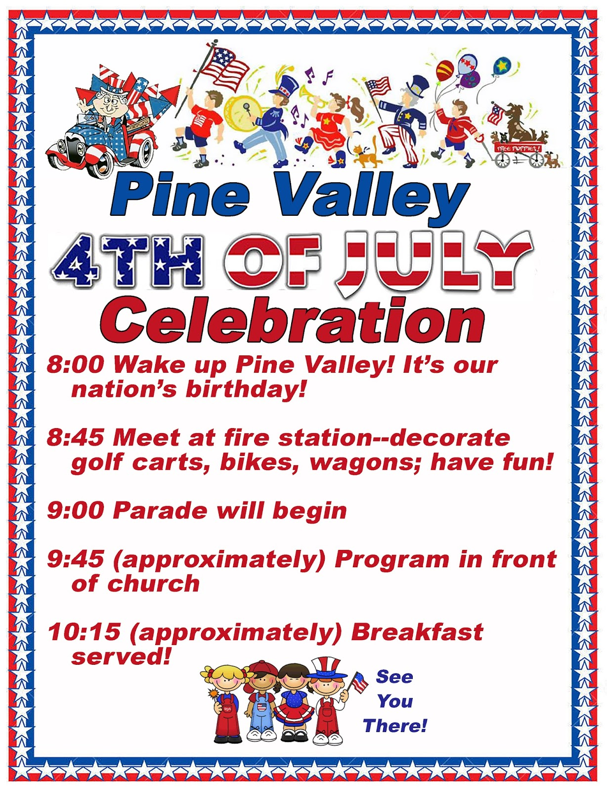 Pine Valley Blog: Pine Valley July 4th Parade, Program and ...