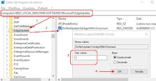 Registro di Windows - DoNotUpdateToEdgeWithChromium