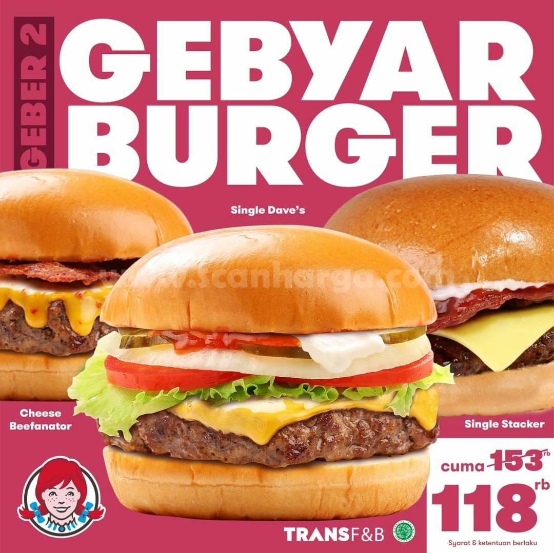 WENDYS Geber Gebyar Burger Paket Hemat Buat Rame-Rame harga mulai Rp 68.000