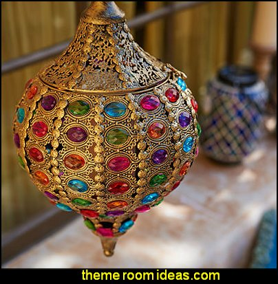 Gold Hanging Lantern  I Dream of Jeannie theme bedrooms - Moroccan style decorating - Jeannie bedroom harem style - Arabian Nights theme bedrooms - bed canopy - Moroccan stencils - I dream of Jeannie bottle - satin bedding - throw pillows - Moroccan furniture