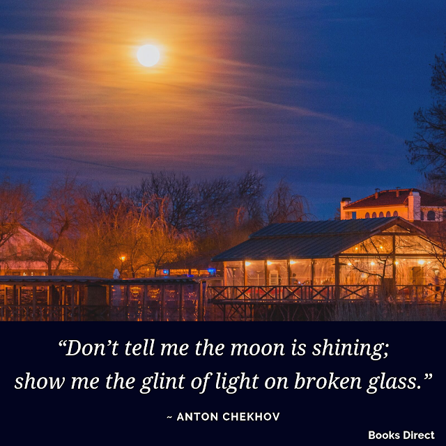 """Don't tell me the moon is shining; show me the glint of light on broken glass.""  ~ Anton Chekhov"