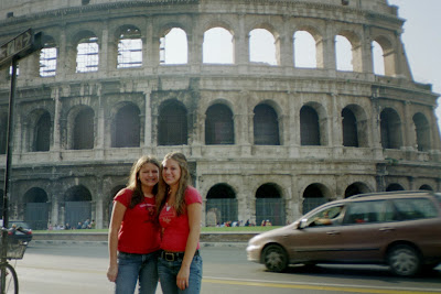 Jessie and Jenn at the Coliseum, Rome 2004