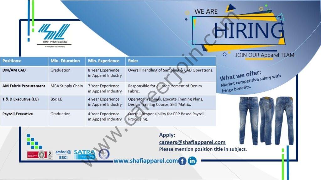 careers@shafiapparel.com - Shafi Pvt Ltd Jobs 2021 in Pakistan