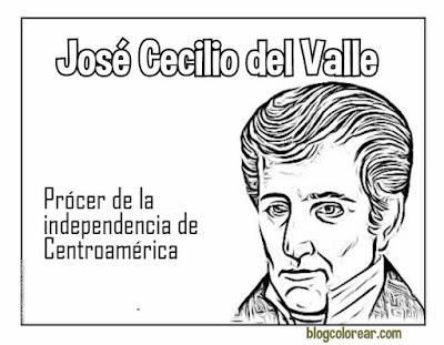 José Cecilio del Valle dibujo para colorear