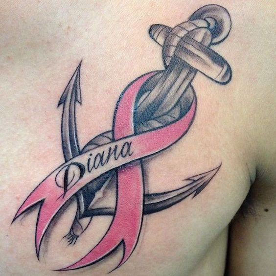 Anchor + Cancer Ribbon Tattoo on Chest