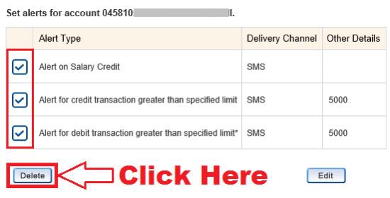 deactivate insta alert in hdfc netbanking