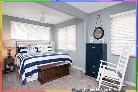 غرف نوم رمادي مع الأزرق البحري