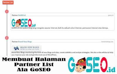 Membuat Halaman Partner List Ala GoSEO