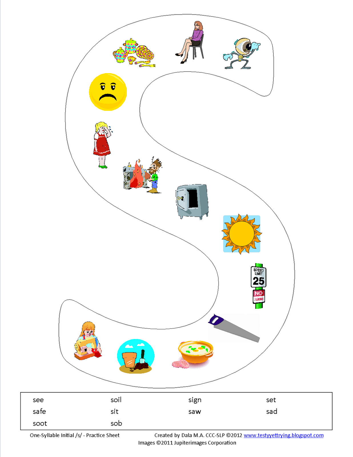 Testy Yet Trying One Syllable Initial S Printable Worksheet
