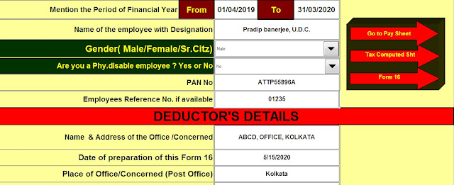 Download Automated All in One TDS on Salary Non-Govt Employees for the F.Y. 2019-20 with Automated H.R.A. Exemption Calculator U/s 10(13A) + Automated Revised Form 16 Part B and Form 16 Part A&B + Automated Value of Perquisite Calculator with Form 12 BA. 4