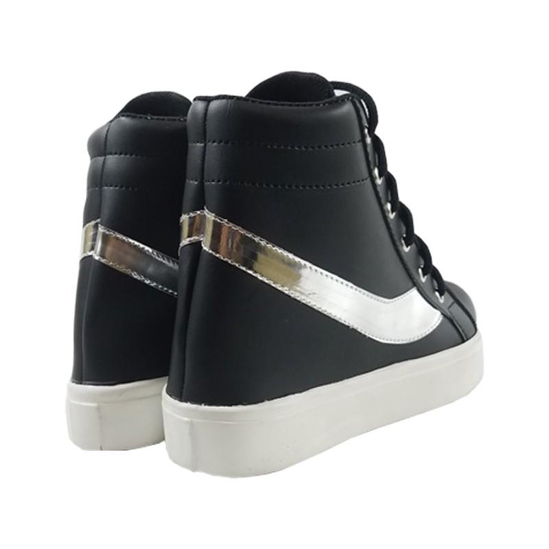 MEGUMI Sneakers Hidden Wedges Cewek Korea Casual / Sneaker Wanita Hitam Slash Silver3