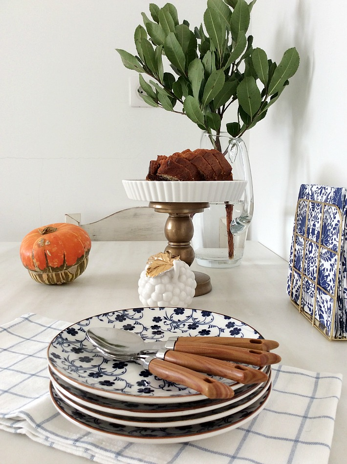 white blue dining plates