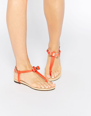 Oasis Bow Orange front flat Sandals