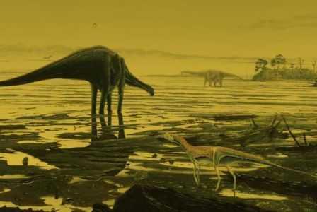 Ilustrasi gambar dinosaurus raksasa Sauropoda yang hidup di Isle of Skye (Oleh: Jon Hoad)